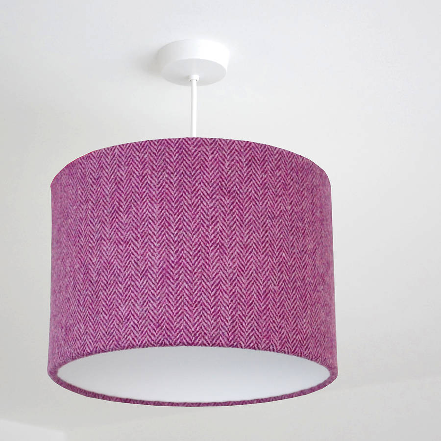Bright Purple Herringbone Harris Tweed Lampshade