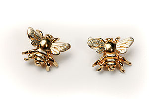 Bee Stud Earrings In Gold And Silver - earrings