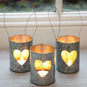 Heart Zinc Tea Light Holder - lighting