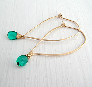 Apatite Quartz Hoop Earrings - earrings