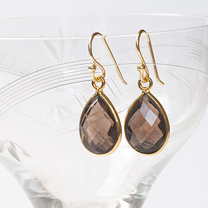 Gold And Smokey Quartz Drop Earrings - earrings