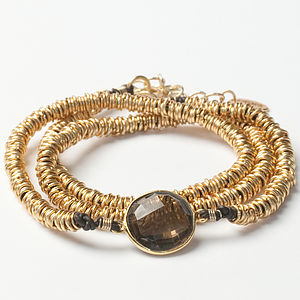 Gold And Smokey Quartz Wrap Bracelet - bracelets & bangles