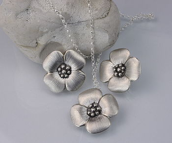 Silver Rose Earrings and Necklace