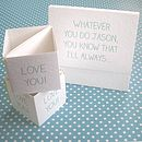Personalised 'Always Love You' Popping Card