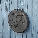 personalised heart wood slice