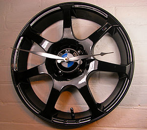 Personalised Real Alloy Wheel BMW Clock - dining room