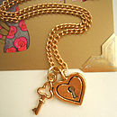 Heart Padlock And Key Charm Gold Necklace