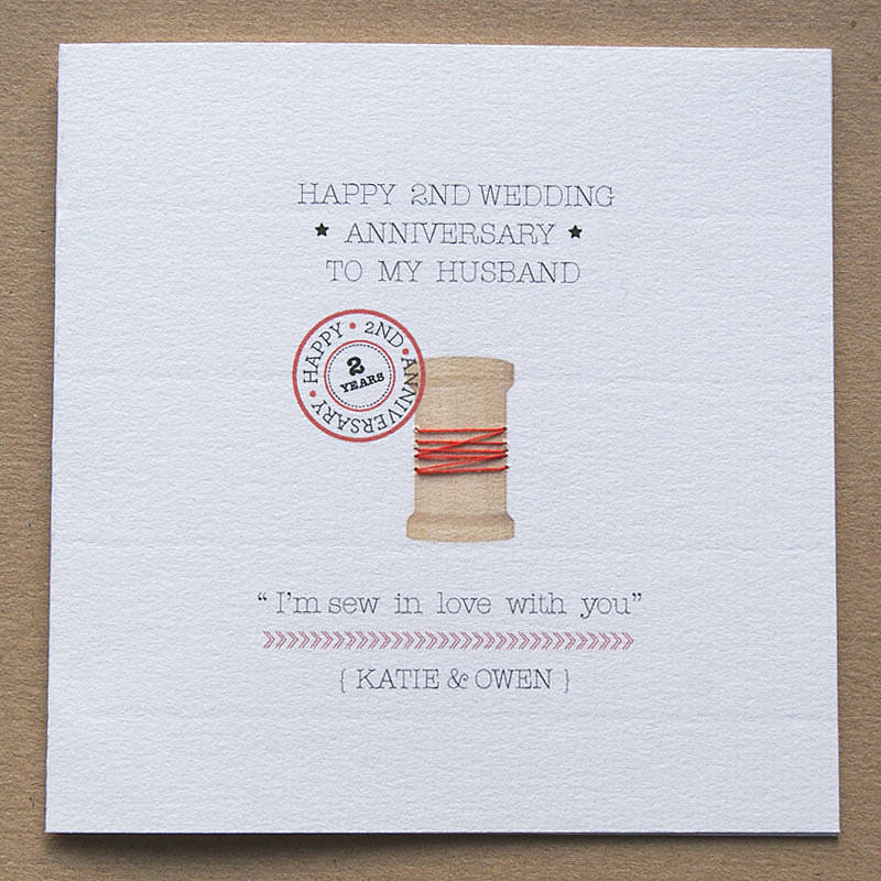 personalised second anniversary card by button box cards ...