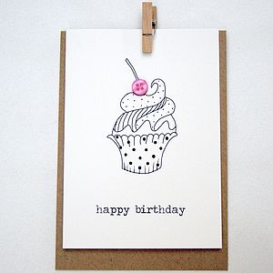 'Happy Birthday' Cupcake Button Box Card - birthday cards