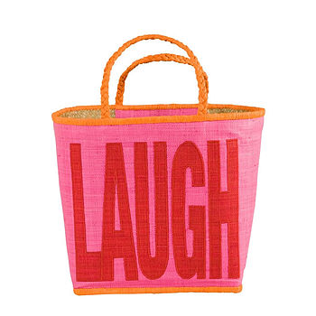 'Laugh' Raffia Storage Basket