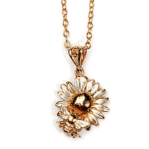 Bee And Daisy Pendant In Gold On Sterling Silver
