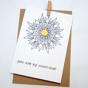 'You are my sunshine' Button Box Card