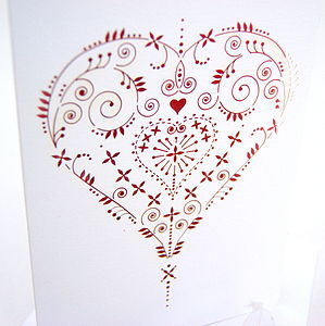 Red Heart Laser Cut Card - wedding, engagement & anniversary cards