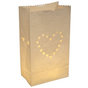 Pack Of 10 Wedding White Heart Lanterns