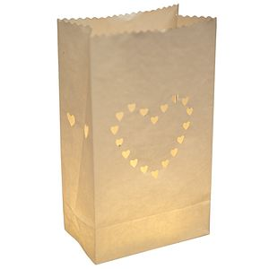 Pack Of 10 Wedding White Heart Lanterns - outdoor lights