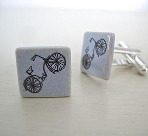 Ceramic Bicycle Cufflinks - cufflinks