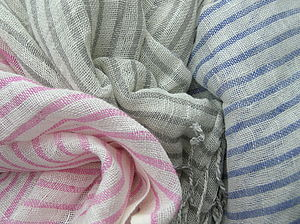 Linen Stripe Scarf - hats, scarves & gloves
