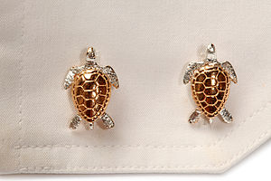 Turtle Cufflinks In 18 Ct Gold On Silver - cufflinks
