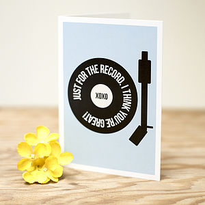 'Just for the Record' Card - gifts for music lovers