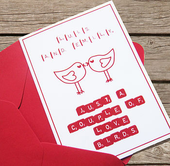 Personalised 'Love Birds' Anniversary Card