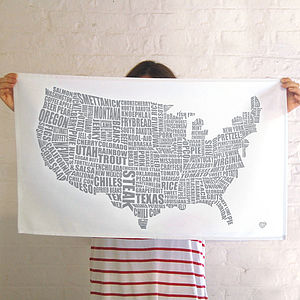 American Gastronomy Map Tea Towel - kitchen linen