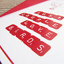 scrabble letter love bird text