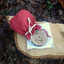 Engraved heart in red bag