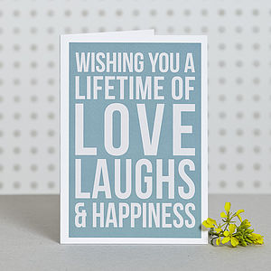 'Lifetime Of Happiness' Card - wedding cards & wrap