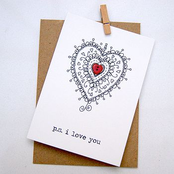 'P.S. I Love You' Button Box Card