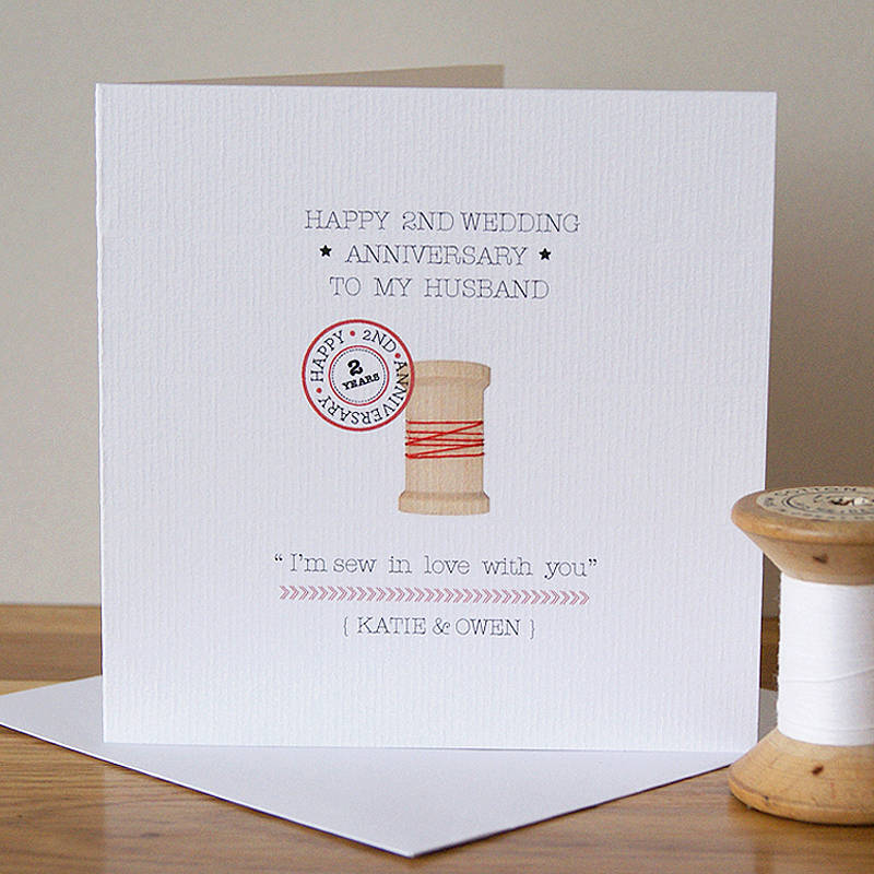 Second Wedding Anniversary: Personalised Second Anniversary Card By Button Box Cards