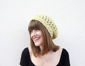 Hand Knitted Pistachio Tweed Beret