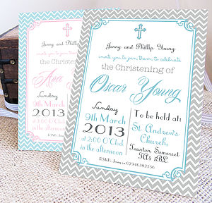 Personalised 'Christening' Invitations - children's party invitations