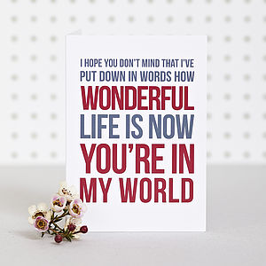 'In My World' Anniversary Card - all purpose cards