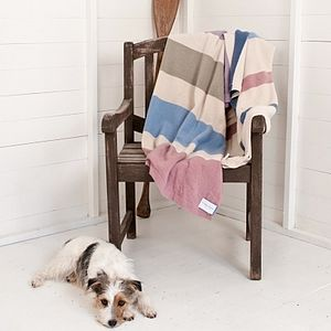Large Striped Lambswool Blanket - soft furnishings & accessories