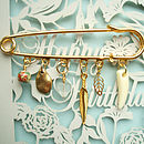 Gold Kilt Pin Brooch With Charms