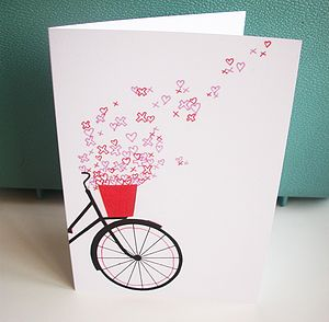 Bicycle Hearts And Kisses Card - anniversary cards