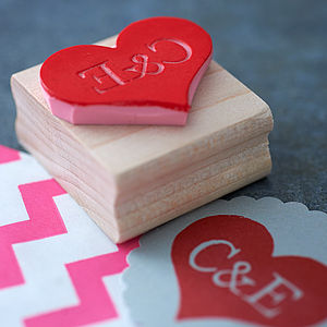 Personalised Heart Hand Carved Rubber Stamp