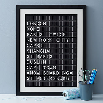 Personalised Airport Destination Board Print