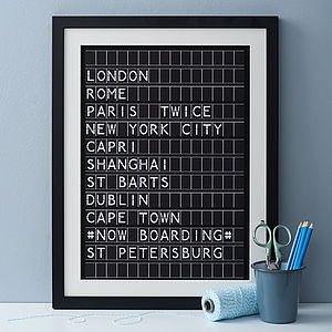 Personalised Airport Destination Board Print - frequent traveller