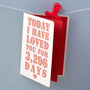 Personalised Days I've Loved You Card - cards sent direct