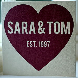 Personalised Big Red Heart Card - anniversary cards