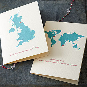 Personalised Destination Map Card - wedding, engagement & anniversary cards