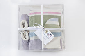 Stripy Newborn Shawl Gift Set - sleeping