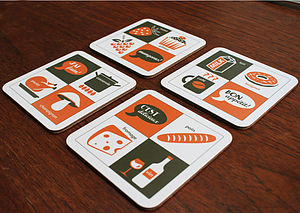 French Cuisine Typographic Coaster Set