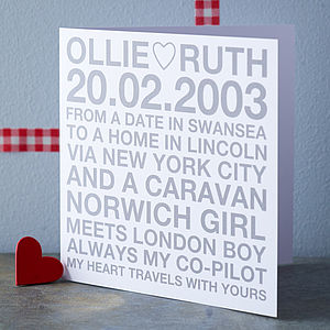Personalised Couple Card - anniversary cards