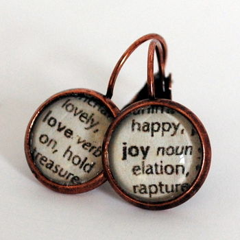Love And Joy Vintage Dictionary Word Earrings