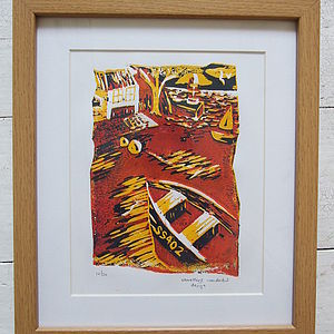 Cornish Harbour Limited Edition Linoprint - pictures, prints & paintings