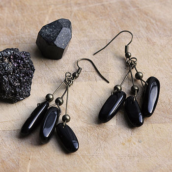 'Titan's Tears' Onyx Gemstone Earrings