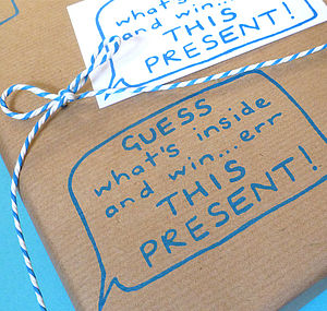 Handmade 'Guess What's Inside!' Gift Wrap - ribbon & wrap