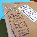 Handmade 'Great Person!' Gift Wrap